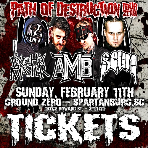 Path Of Destruction Tour 2018 TICKETS SPARTANBURG, SC 2/11/18