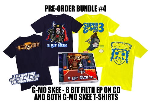 G-Mo Skee 8 Bit Filth EP 2 Shirts and CD Bundle #4 Pre-Order