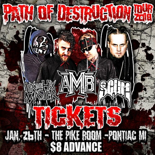 Path Of Destruction Tour 2018 TICKETS PONTIAC, MI 1/26/18