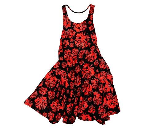 Twiztid Red and Black Skull Lungs Pattern DRESS