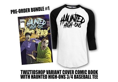 Twiztid's Haunted High-Ons Twiztidshop Variant  Cover Comic Book Pre Order Baseball Tee Bundle #1