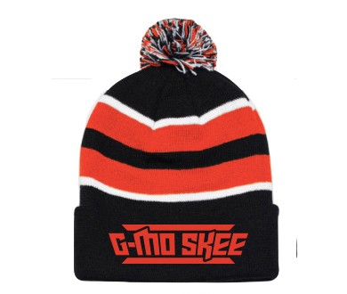 G-Mo Skee Black and Orange Puff Ball Hat