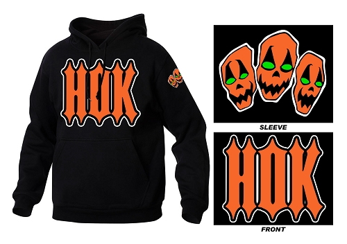 HOK Embroidered Black and Orange Logo Hoodie