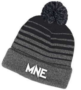 MNE Grey and Black Puff Ball Beanie