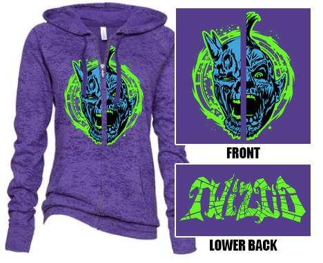Twiztid Cartoon Evilution Demons Purple Ladie's Zip Up Hoodie