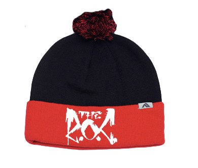 The R.O.C. Black and Red Puff Ball Beanie