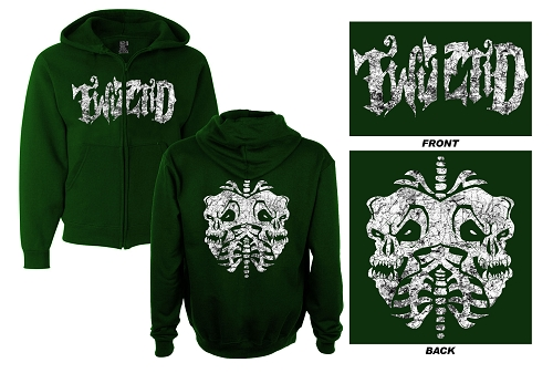 Twiztid Distress Logo Green Zip Up Hoodie
