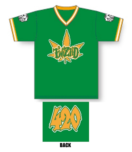 Twiztid 420 Green and Yellow Pullover Baseball Jersey
