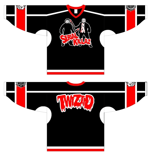 Twizitd Black and Red Serial Killaz Hockey Jersey