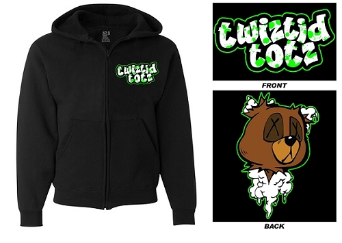 YOUTH Twiztid Totz Teddy Bear Head Zip Up Hoodie